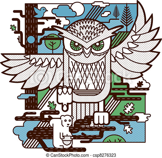 Owl Attack - csp8276323