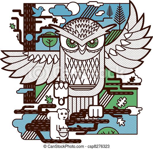 Owl Attack - csp8276323