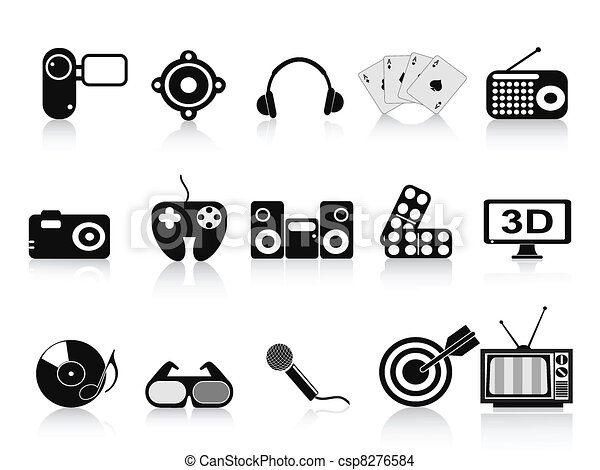 black home entertainment icons set - csp8276584