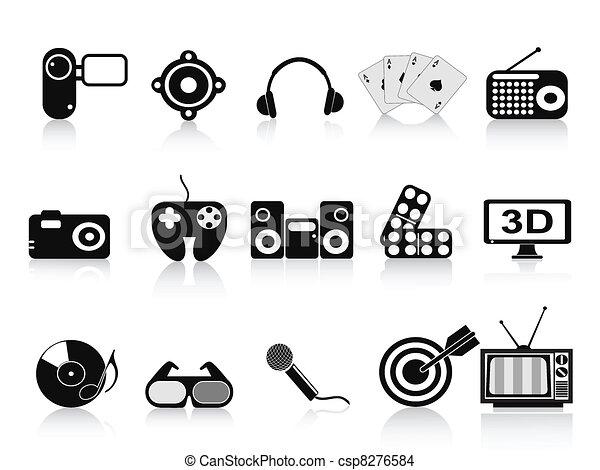 black home entertainment icons set - csp8276584