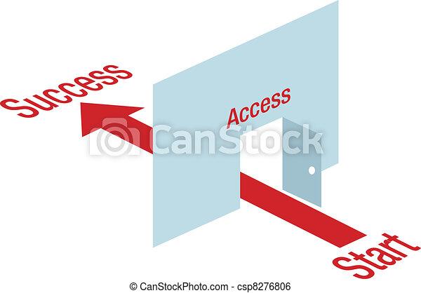 Access path arrow through door way to Success - csp8276806