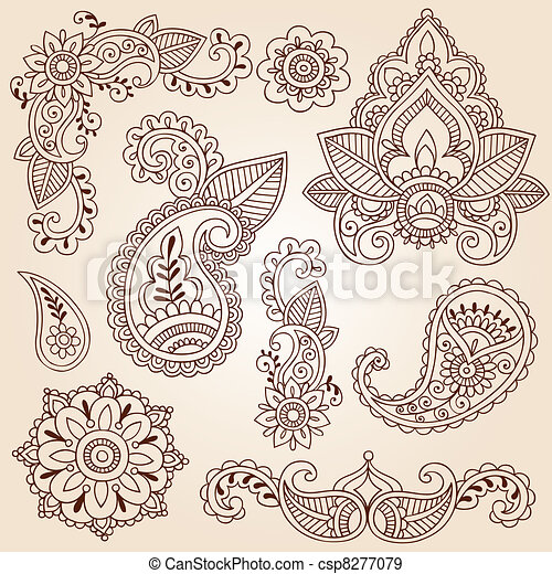 Henna Mehndi Doodle Design Elements - csp8277079