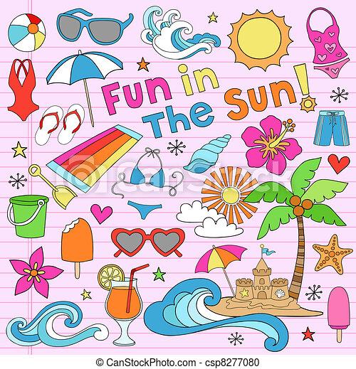 Summer Vacation Notebook Doodles - csp8277080