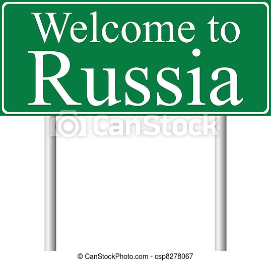 Welcome to Russia, concept road sign - csp8278067