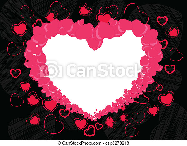 Abstract heart shape frame made with pink heart and copy space on seamless black background for valentines day and other occasions. - csp8278218
