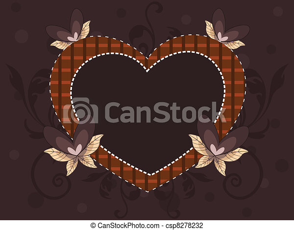 Abstract heart shape frame made with decorative elements hearts  and copy space on seamless brown background for valentines day and other occasions. - csp8278232