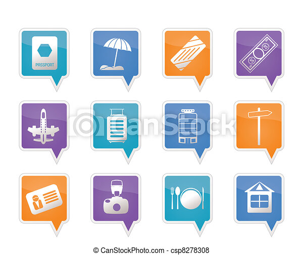 Travel, Holiday and Trip Icons - csp8278308