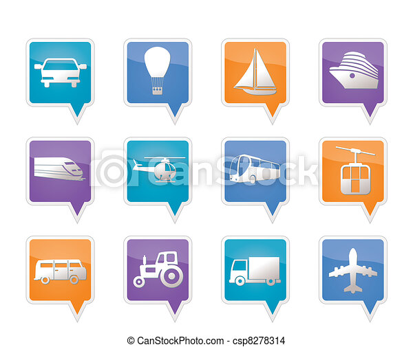 Transportation and travel icons - csp8278314