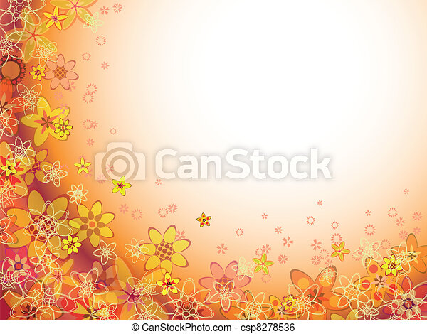 abstract flower orange color pattern - csp8278536