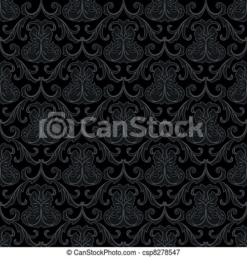 seamless black wallpaper pattern - csp8278547