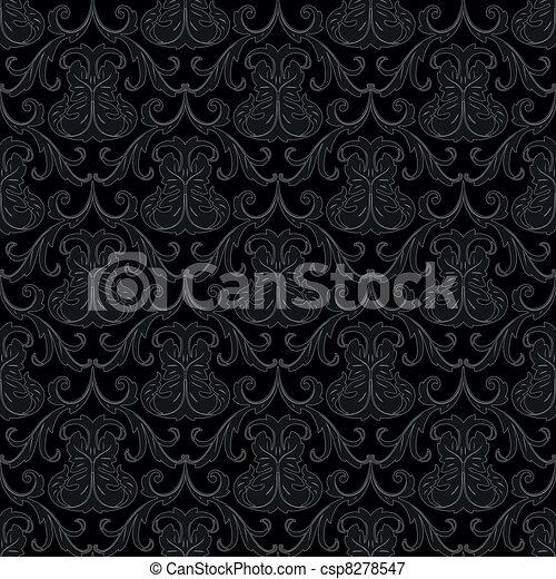 seamless black wallpaper pattern - csp8278547