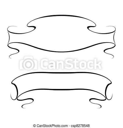 Vector calligraphy ribbon frame banner - csp8278548