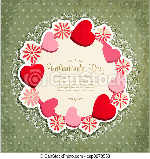 vintage frame with hearts   - csp8278553