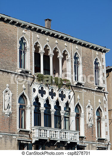 Traceries and typical adornments for venetian windows - Venice - csp8278701