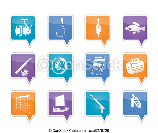 Fishing and holiday icons - csp8278726