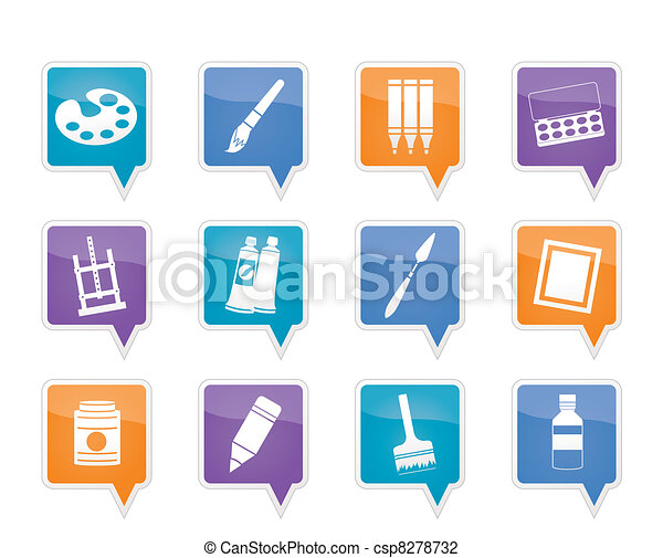 painter, drawing and painting icons - csp8278732