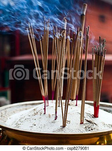 Stock Fotografie Van Brandende Wierook Plakken Chinees