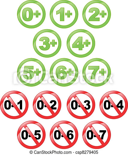 Stickers for children's toys. Recommended age of use. - csp8279405
