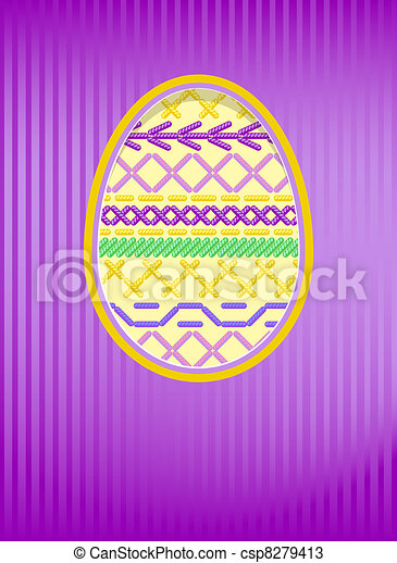 Easter card with a hole and embroidery. - csp8279413