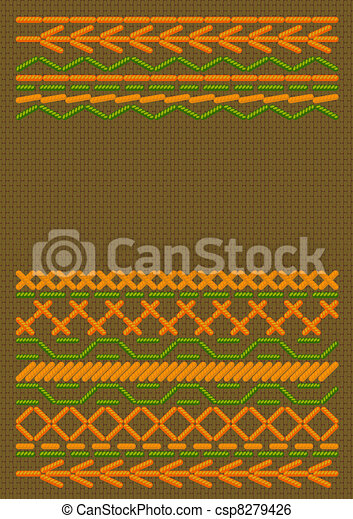 Background  with ethnic embroider. - csp8279426