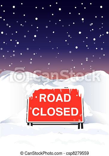 Road closed night - csp8279559