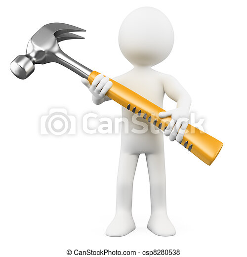 3D man with a huge hammer - csp8280538