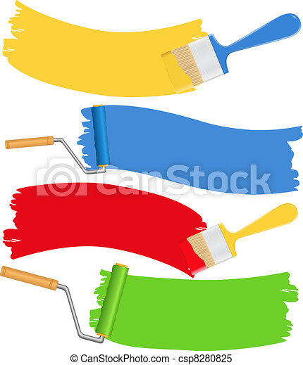 Brushes and rollers with paint - csp8280825