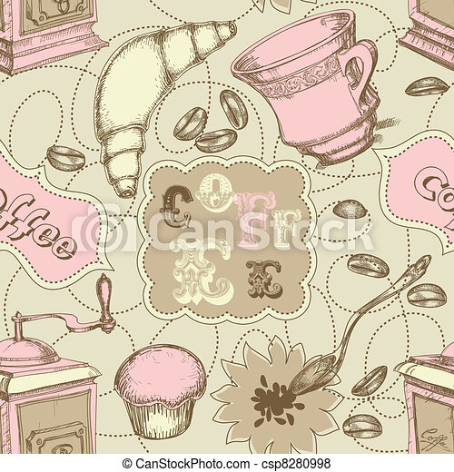Coffee seamless pattern with labels for text, mugs, grinder, spoon and cakes - csp8280998