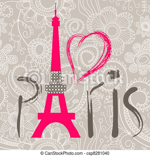 Paris lettering over lace seamless pattern - csp8281040