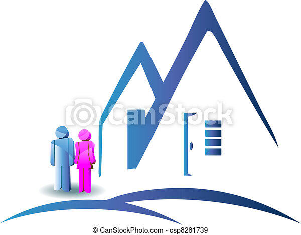 Couple with a new house logo - csp8281739