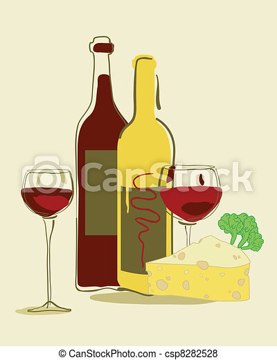 Red wine and cheese - csp8282528