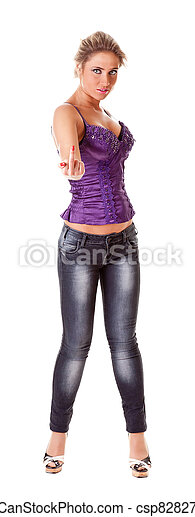 provocative portrait of a young woman  - csp8282759