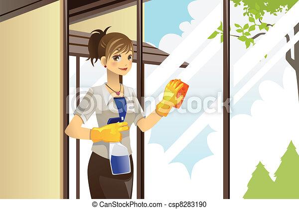 Vector clip art de windows limpieza ama de casa un - Imagenes de limpieza de casas ...