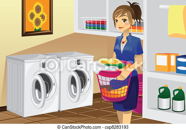 Housewife doing laundry - csp8283193