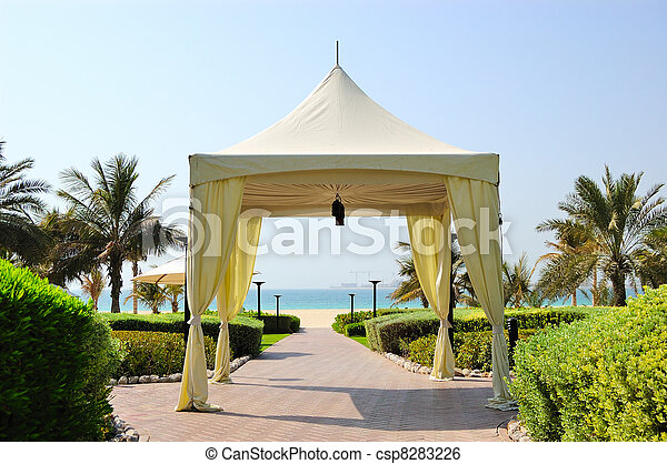 Hut at recreation area of luxury hotel, Dubai, UAE - csp8283226