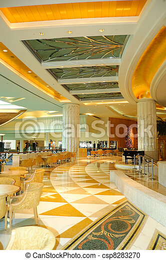 Reception lobby area in luxurious hotel, Dubai, UAE - csp8283270