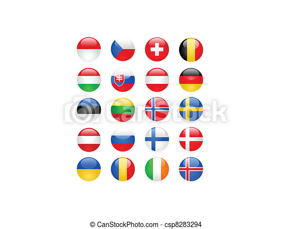 Europe flags buttons, part two - csp8283294