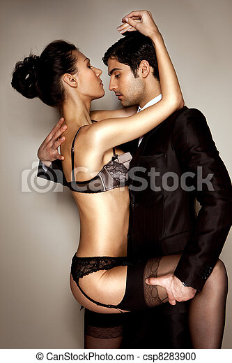 Lady In Lingerie With Businessman - csp8283900