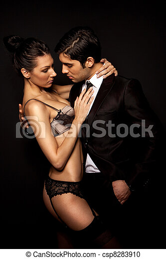 Businessman With Sexy Woman In Lingerie - csp8283910
