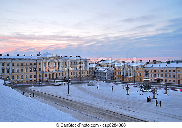 Helsinki. Senate Square at dawn - csp8284068