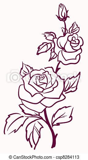 Vettori di Tre, stilizzato, pallido, rose, isolato, luce, fondo ...
