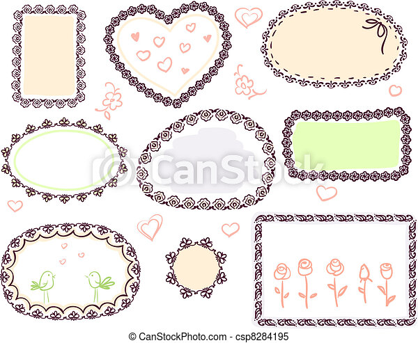cute doodle floral vector frame set  - csp8284195