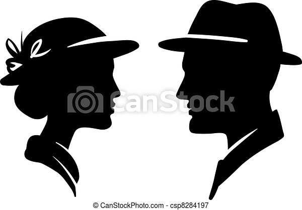 man and woman face profile, male female couple  - csp8284197