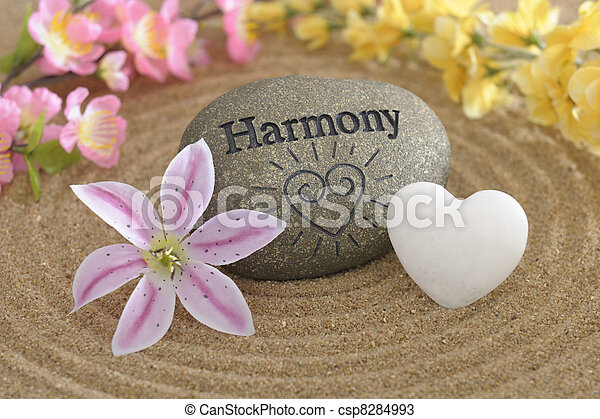 zen stone of harmony in sand - csp8284993