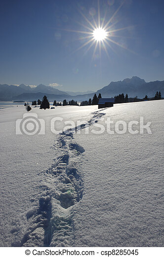 footpath in snow at alps in bavaria, germany - csp8285045