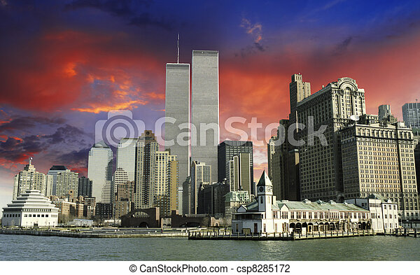 Sky Colors over Twin Towers and World Trade Center - csp8285172