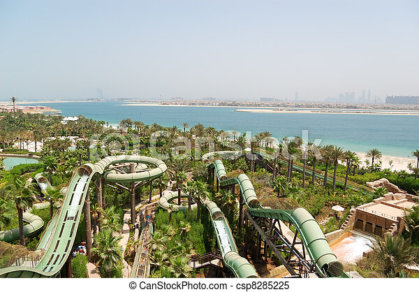 DUBAI, UAE - AUGUST 28: The Aquaventure waterpark of Atlantis the Palm hotel, located on man-made island Palm Jumeirah on August 28, 2009 in Dubai, United Arab Emirates - csp8285225