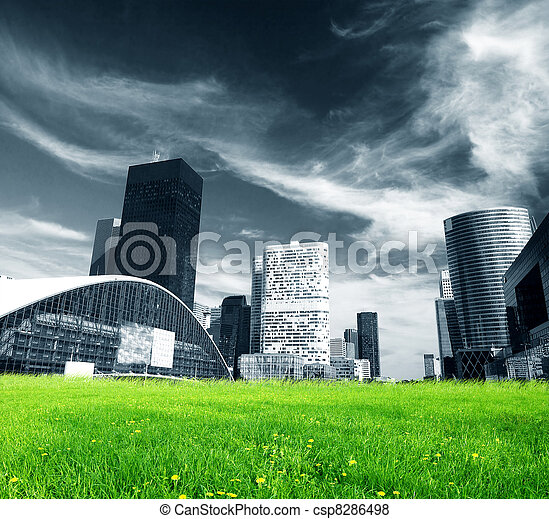 Big city and green fresh meadow - csp8286498