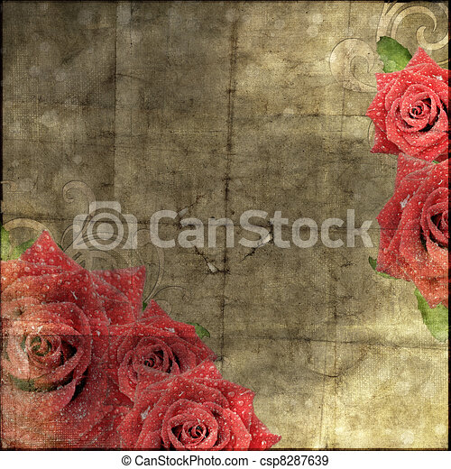 Beautiful Vintage Paper Background with roses silhouette - csp8287639