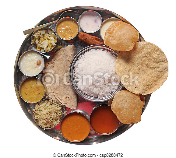 Traditional indian lunch food and meals - csp8288472